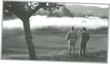 An image of Dr.Stahl and a client overlooking frost prevention