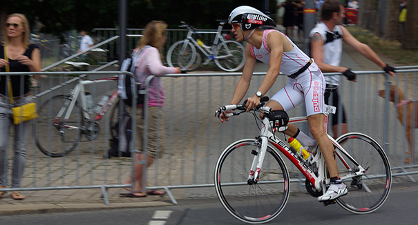 Andreas Pleines on the pulsFOG bike at the Ironman